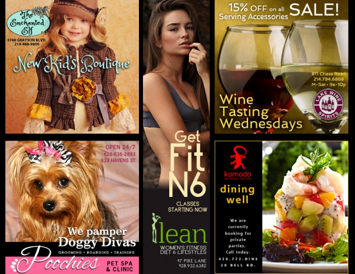 "A group of advertisements - ""A Kid's Boutique"", ""Poochies"" Pet Spa, ""Get Fit N6"" Health Classes, ""Wine Tasting Wednesdays"" and Komodo restaurant. Shows: Graphic Design and Logo Design"