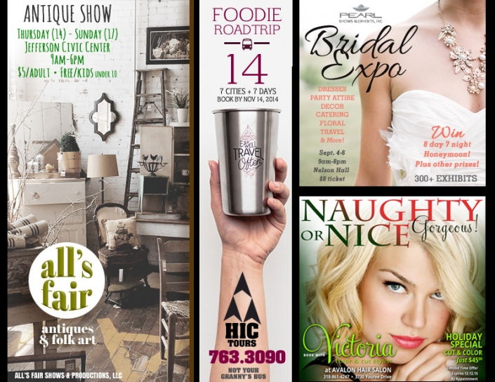 "A group of advertisements - ""Antique Show"", ""Foodie Road Trip"", Bridal Expo, and ""Naughty or Nice"" Christmas salon promotion. Shows: Graphic Design and Logo Design"