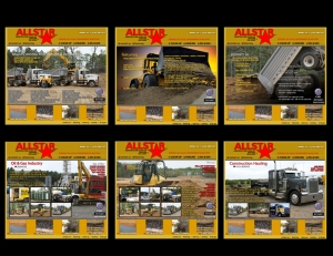Six examples of industrial sales collateral for a heavy equipment industrial company. Shows: Graphic Design, Promotional Design, Sales Presentation.