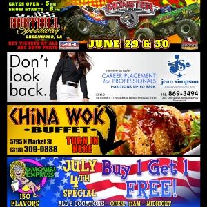 Four high contrast advertisements designed for large format digital billboards. Shows: Graphic Design, Digital Media Use.
