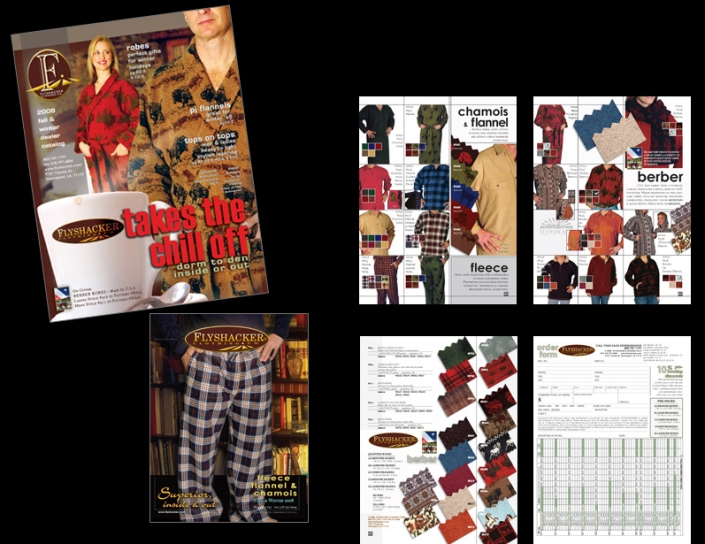 The front cover, back cover, product pages and order form for a clothing catalog. Shows: Graphic Design, Catalog Layout and Logo Designs.
