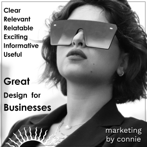 """A well dressed business woman. """"Great Design for Businesses"""" marketing by Connie"""