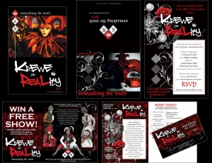 """Five exampes of promotonal material for a theatrical production titled, """"Krewe of Reality"""" including invitations, postcards, handouts and mailers. Shows: Website Design, Logo Design, Graphic Design, Costume Design and Creation."""