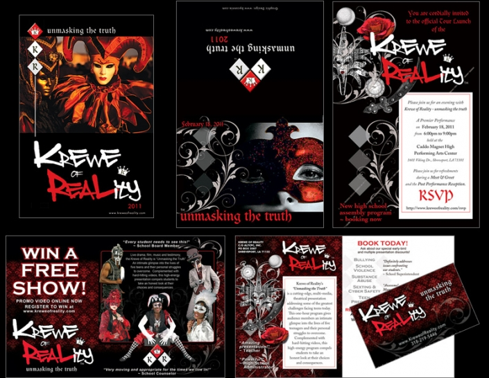 "Five exampes of promotonal material for a theatrical production titled, ""Krewe of Reality"" including invitations, postcards, handouts and mailers. Shows: Website Design, Logo Design, Graphic Design, Costume Design and Creation."