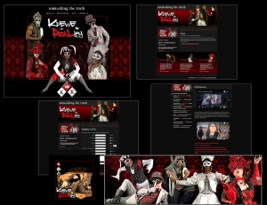"Six sample pages from a website for a theatrical production titled, ""Krewe of Reality."" Shows: Website Design, Logo Design, Graphic Design, Costume Design and Creation."