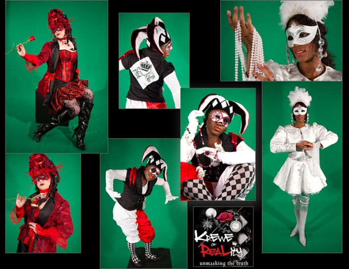 "for a theatrical production titled, ""Krewe of Reality."" Shows: Costume Design and Creation, Logo Design and Graphic Design."