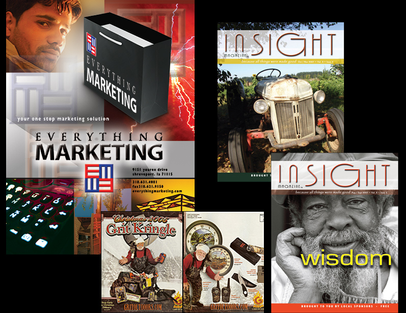 Insight magazine for senior citizens sample covers, Grit product catalog covers and a marketing portfolio cover. Shows: Graphic Design, Logo Design, Cover Layouts.