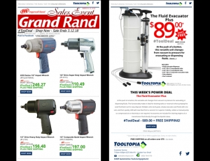 Two examples of email marketing campaigns for an online automotive tool retailer. Shows: Email Layout and Design, Graphic Design, Logo Design, and Email Management.