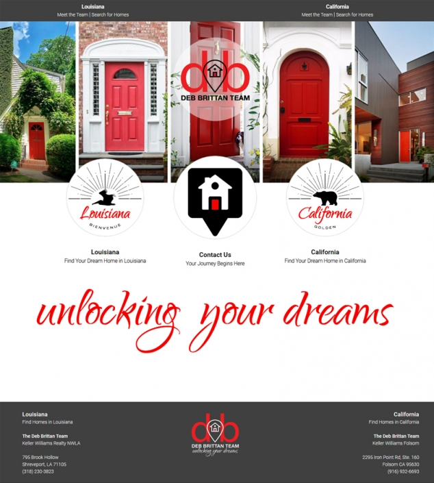A website portal page for a realtor. Shows: Graphic Elements, Website Layout and Organization, Logo Design, Slogan Use.