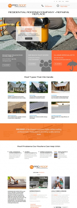 A website design for a roofing company highlighting services, locations and industry information. Shows: Website Design, Installation and Graphic Design.
