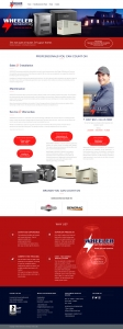 A website design for a home generator company highlighting services, locations and industry information. Shows: Website Design, Installation, Maintenance, Graphic Design, Logo Design and Seasonal Promotions.